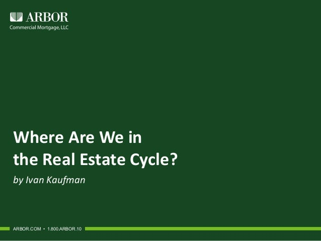 Where Are We in the Real Estate Cycle? by Ivan Kaufman ARBOR.COM • 1.800.ARBOR.10