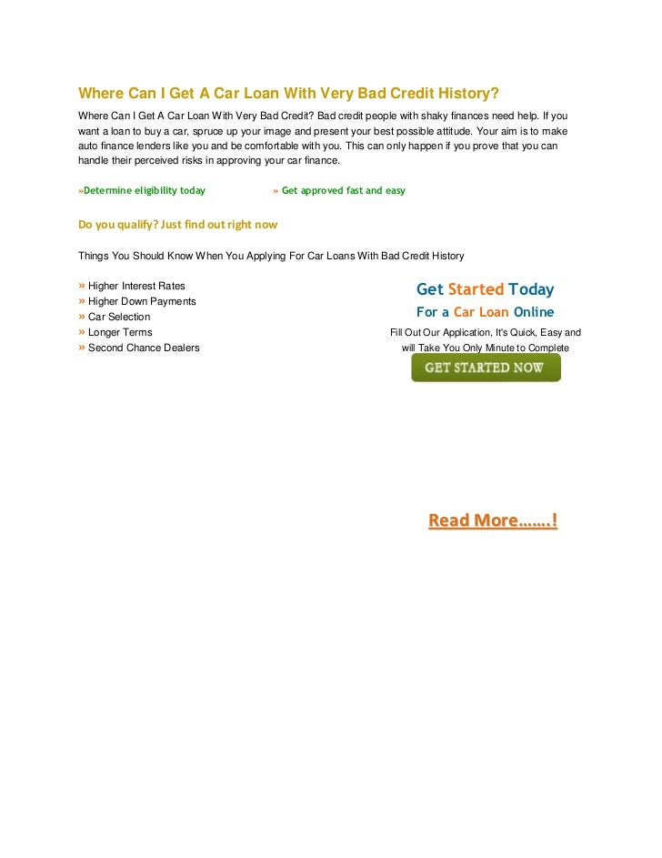 Loans For Really Bad Credit >> Where Can I Get A Car Loan With Very Bad Credit History