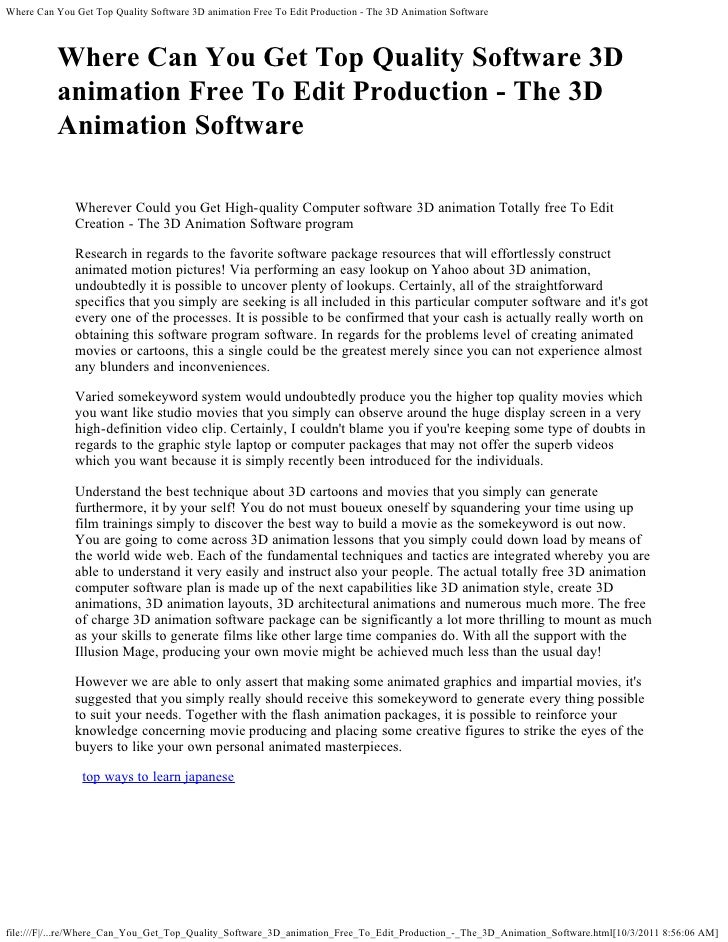 Where Can You Get Top Quality Software 3D animation Free To Edit Production - The 3D Animation Software          Where Can...