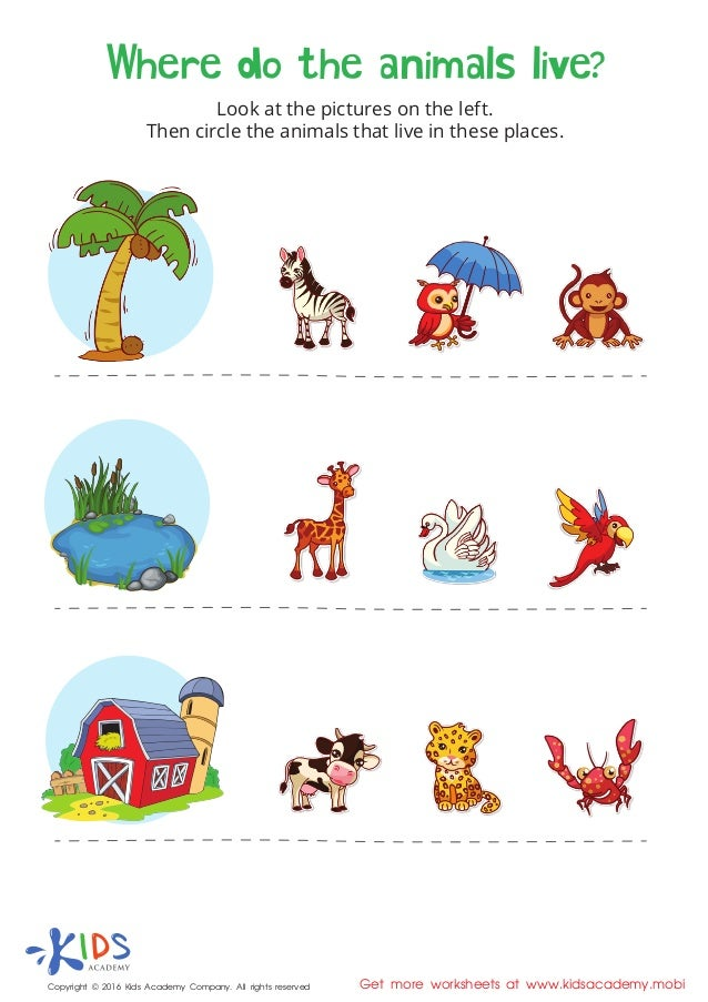 Printable Worksheets animals printable worksheets : Where do the animals live - printable worksheet