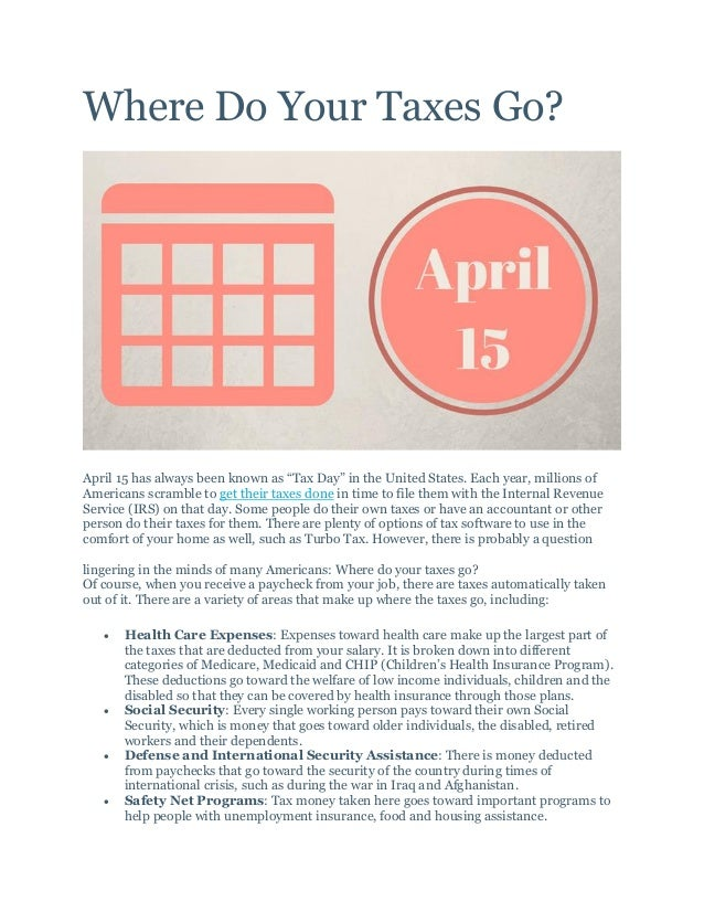"""Where Do Your Taxes Go? April 15 has always been known as """"Tax Day"""" in the United States. Each year, millions of Americans..."""