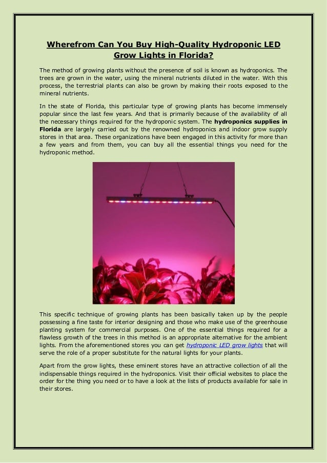 Wherefrom Can You Buy High-Quality Hydroponic LED Grow Lights in Flor…