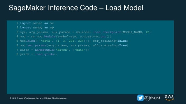 © 2018, Amazon Web Services, Inc. or its Affiliates. All rights reserved. @jrhunt SageMaker Inference Code – Docker File 1...