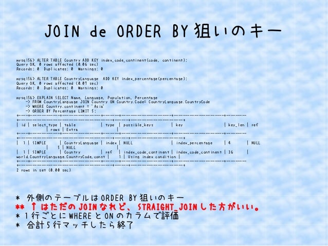 JOIN de ORDER BY狙いのキー  mysql56> ALTER TABLE Country ADD KEY index_code_continent(code, continent);  Query OK, 0 rows affec...