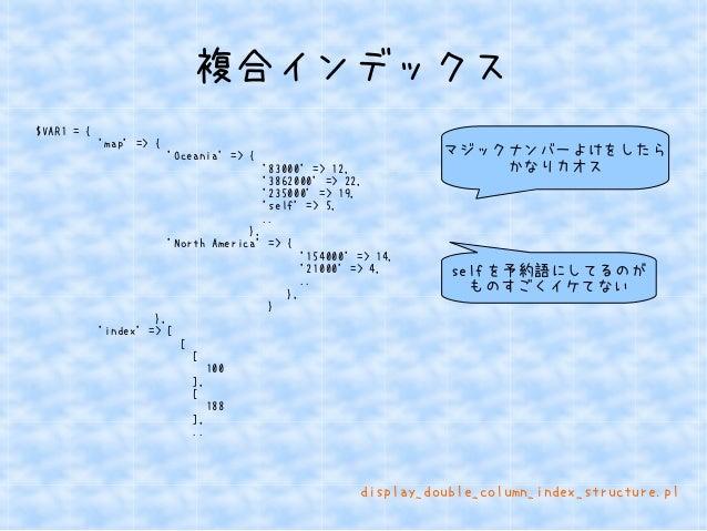 複合インデックス  $VAR1 = {  'map' => {  'Oceania' => {  '83000' => 12,  '3862000' => 22,  '235000' => 19,  'self' => 5,  ..  },  ...