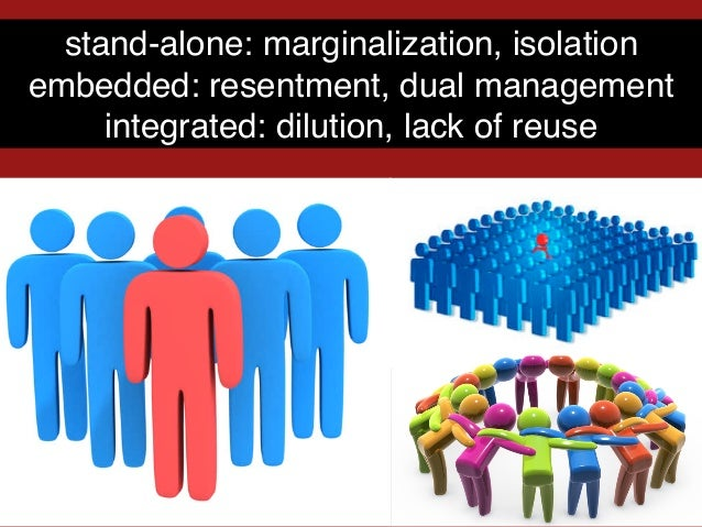 stand-alone: marginalization, isolation embedded: resentment, dual management integrated: dilution, lack of reuse
