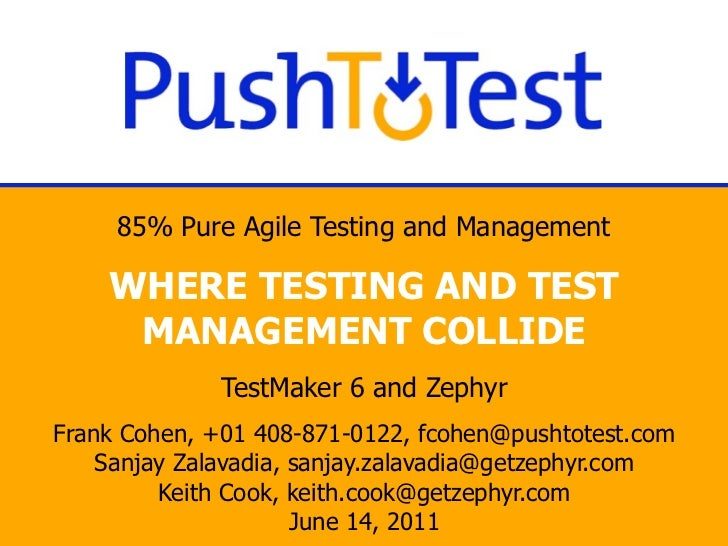 85% Pure Agile Testing and Management    WHERE TESTING AND TEST     MANAGEMENT COLLIDE              TestMaker 6 and Zephyr...