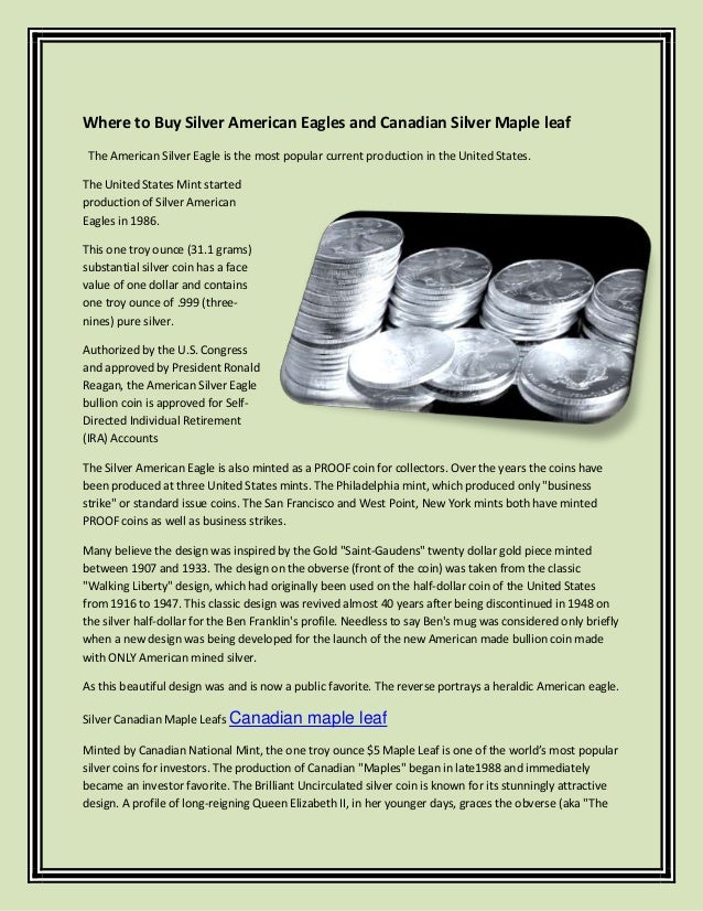 Where to buy silver american eagles and canadian silver maple