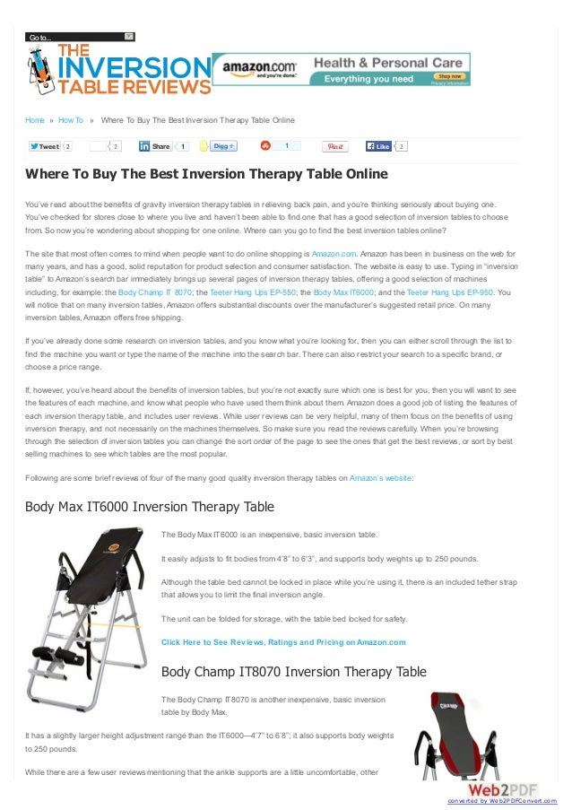 Go to...  Home » How To » Where To Buy The Best Inversion Therapy Table Online Tweet  2  2  Share  1  1  Like  2  Where To...