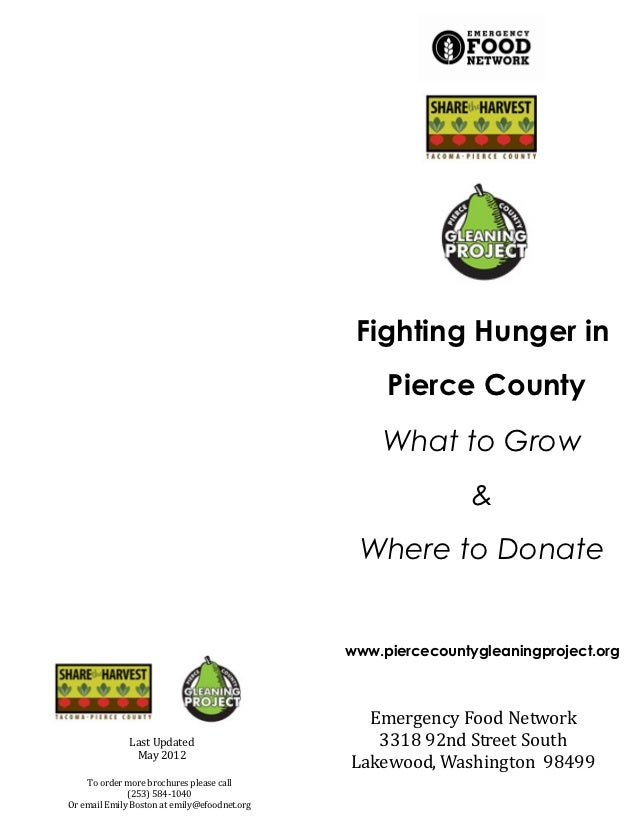 Fighting Hunger in                                                   Pierce County                                        ...