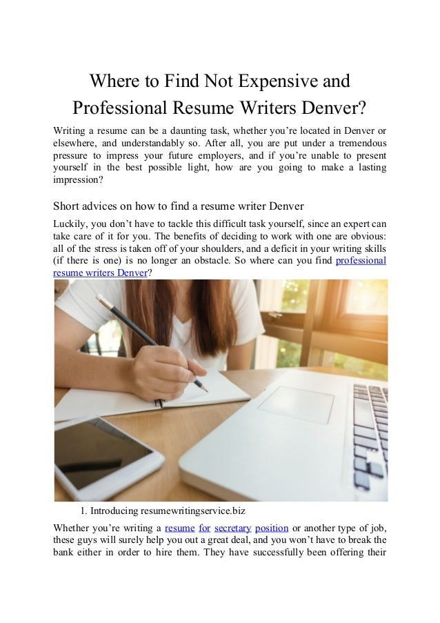 where to find not expensive and professional resume writers denver