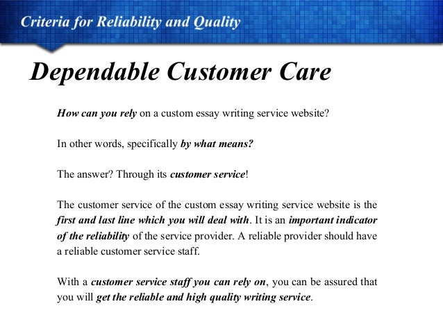 Essay customer care services