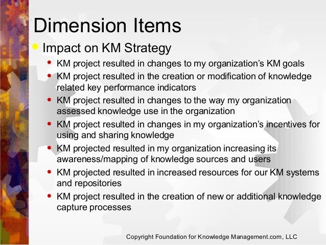 Dimension Items   Impact on KM Strategy              KM project resulted in changes to my organization's KM goals ...