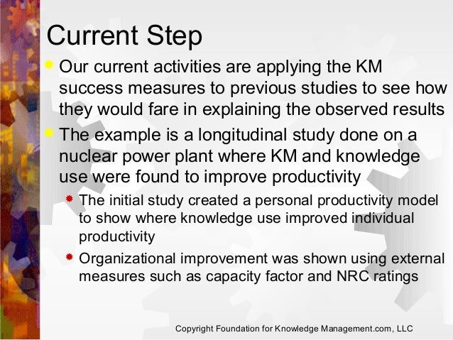 Current Step Our current activities are applying the KM success measures to previous studies to see how they would fare in...