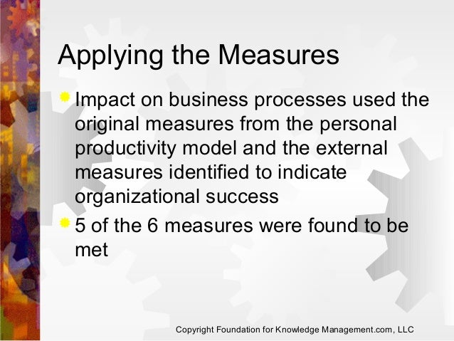 Applying the Measures  Impact  on business processes used the original measures from the personal productivity model and ...