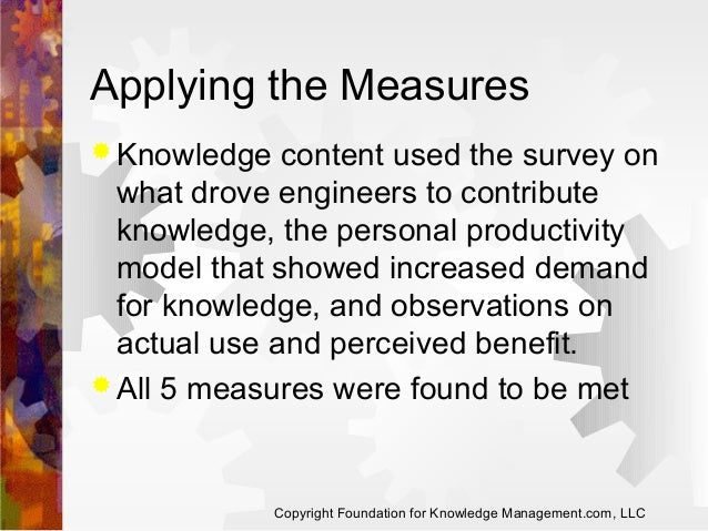 Applying the Measures  Knowledge  content used the survey on what drove engineers to contribute knowledge, the personal p...