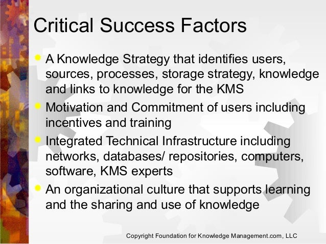 Critical Success Factors A Knowledge Strategy that identifies users, sources, processes, storage strategy, knowledge and l...