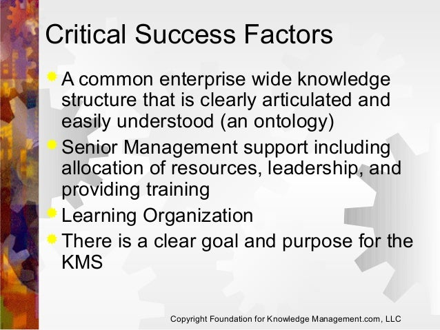 Critical Success Factors  A common  enterprise wide knowledge structure that is clearly articulated and easily understood...
