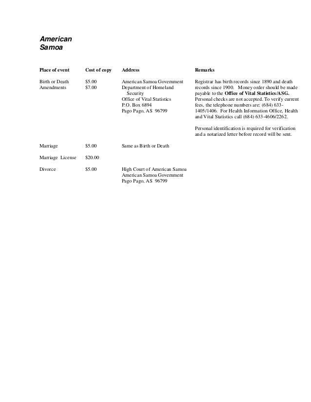 American Samoa Birth Certificate Request Form Mersnoforum