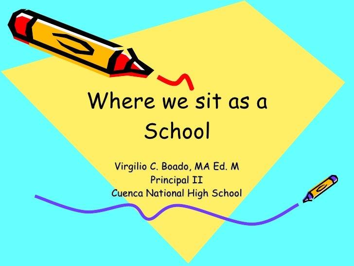 Where we sit as a School Virgilio C. Boado, MA Ed. M Principal II Cuenca National High School