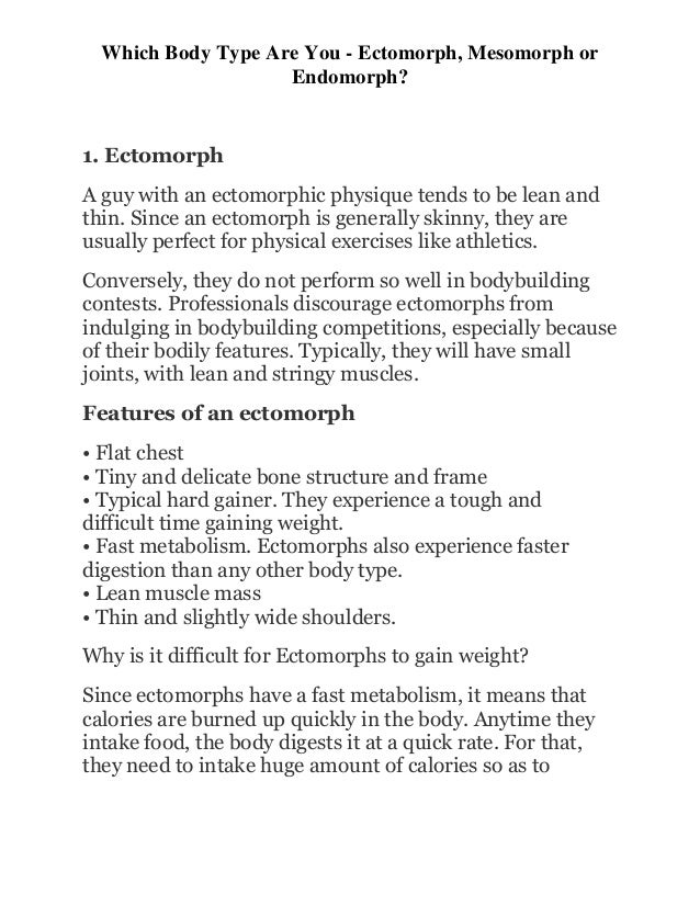Which Body Type Are You - Ectomorph, Mesomorph or Endomorph?