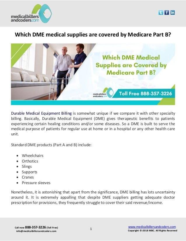 Which dme medical supplies are covered by medicare part b