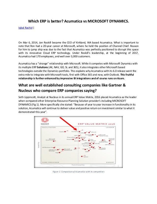 Which ERP is better? Acumatica vs MICROSOFT DYNAMICS. Iqbal Rashid | On Mar 6, 2014, Jon Roskill became the CEO of Kirklan...