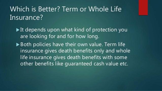 Mylifeinsuranceforelderly.com Which is better Term or ...