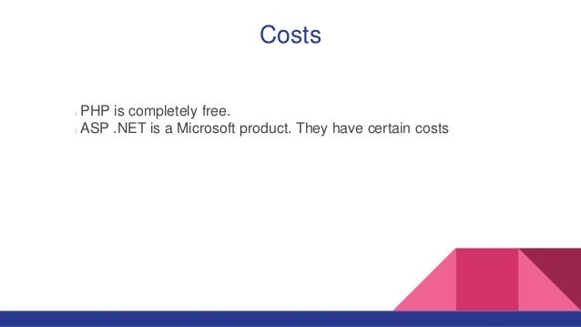 Costs PHP is completely free. ASP .NET is a Microsoft product. They have certain costs