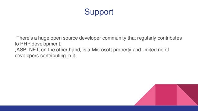 Support There's a huge open source developer community that regularly contributes to PHP development. ASP .NET, on the oth...