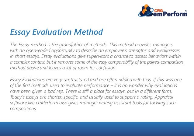 which performance appraisal style suits your company essay evaluation