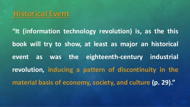 information technology revolution Information technology – wikipedia information technology (it) is the application of computers to store, study, retrieve, transmit, and manipulate data, or information, often in the context of a business or other enterprise.