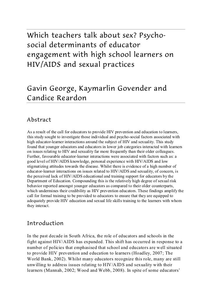 Which teachers talk about sex? Psycho-social determinants of educatorengagement with high school learners onHIV/AIDS and s...