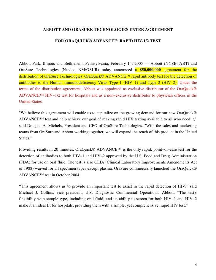 ABBOTT AND ORASURE TECHNOLOGIES ENTER AGREEMENT                    FOR ORAQUICK® ADVANCE™ RAPID HIV-1/2 TESTAbbott Park, I...