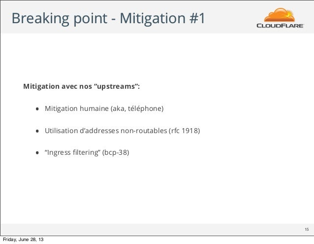"Breaking point - Mitigation #1 15 Mitigation avec nos ""upstreams"": • Mitigation humaine (aka, téléphone) • Utilisation d'a..."