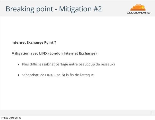 Breaking point - Mitigation #2 17 Internet Exchange Point ? Mitigation avec LINX (London Internet Exchange) : • Plus diffici...