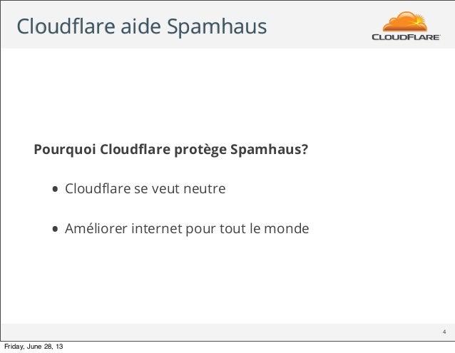 Cloudflare aide Spamhaus Pourquoi Cloudflare protège Spamhaus? • Cloudflare se veut neutre • Améliorer internet pour tout le ...
