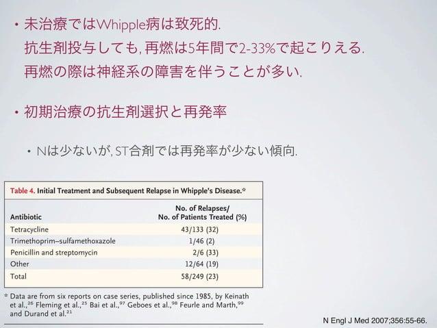 • 未治療ではWhipple病は致死的. 抗生剤投与しても, 再燃は5年間で2-33%で起こりえる. 再燃の際は神経系の障害を伴うことが多い. • 初期治療の抗生剤選択と再発率 • Nは少ないが, ST合剤では再発率が少ない傾向. N Engl...