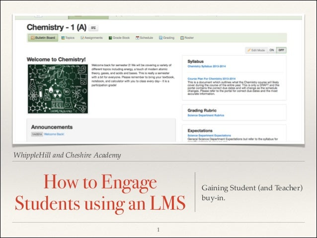 WhippleHill and Cheshire Academy  How to Engage Students using an LMS 1  Gaining Student (and Teacher) buy-in.