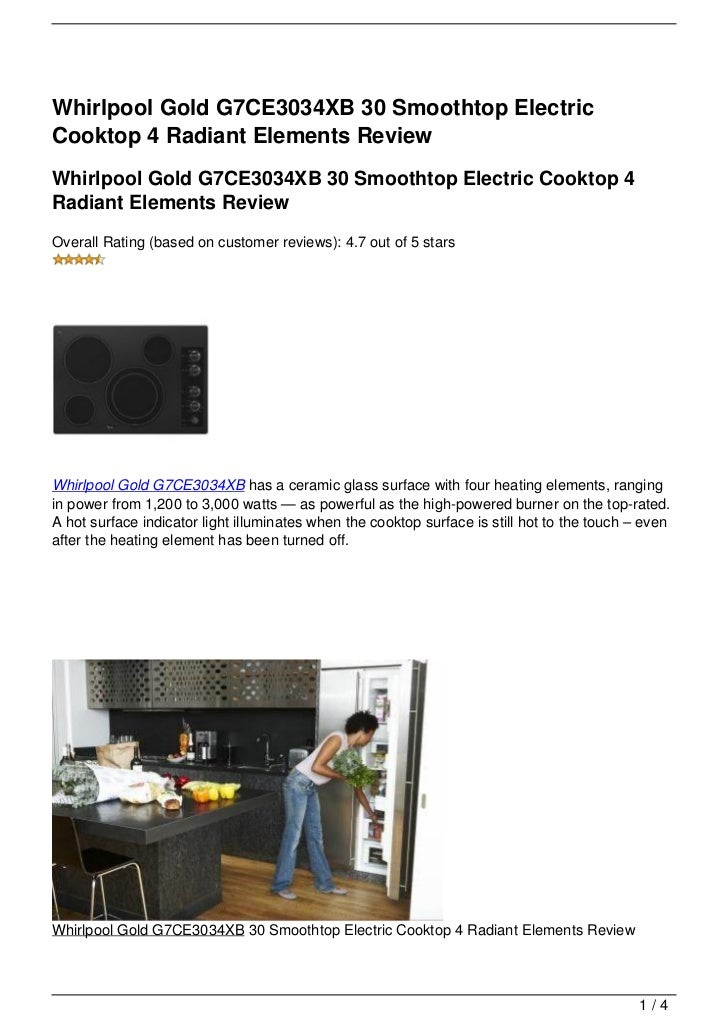 Whirlpool Gold G7CE3034XB 30 Smoothtop ElectricCooktop 4 Radiant Elements ReviewWhirlpool Gold G7CE3034XB 30 Smoothtop Ele...