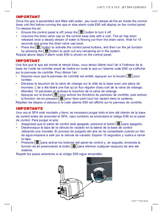 """(1417) 7.5"""" X 10.3"""" JET SPA 12/30/2013 1417-***-R1-1412 IMPORTANT Once the spa is assembled and filled with water, you mus..."""