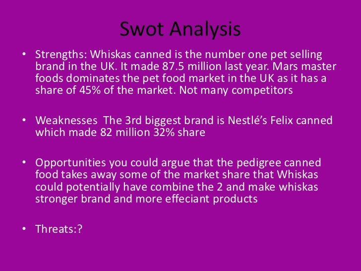 whiskas swot Mars, incorporated: consumer packaged goods - company profile & swot analysis mars, incorporated: consumer packaged goods - company profile & swot.