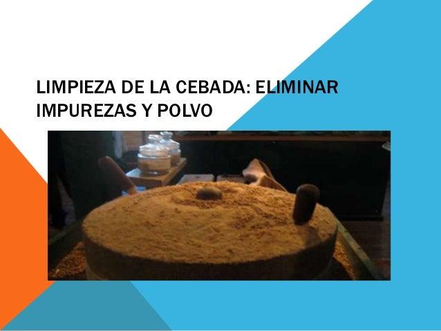 LIMPIEZA DE LA CEBADA: ELIMINARIMPUREZAS Y POLVO