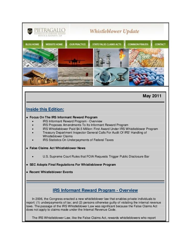 May 2011Inside this Edition: Focus On The IRS Informant Reward Program         IRS Informant Reward Program - Overview ...