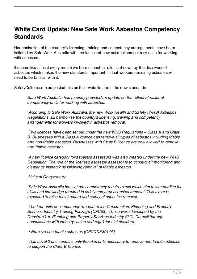 asbestos competency standards safe update