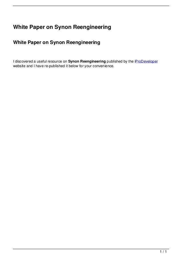White Paper on Synon Reengineering                                   White Paper on Synon Reengineering                   ...