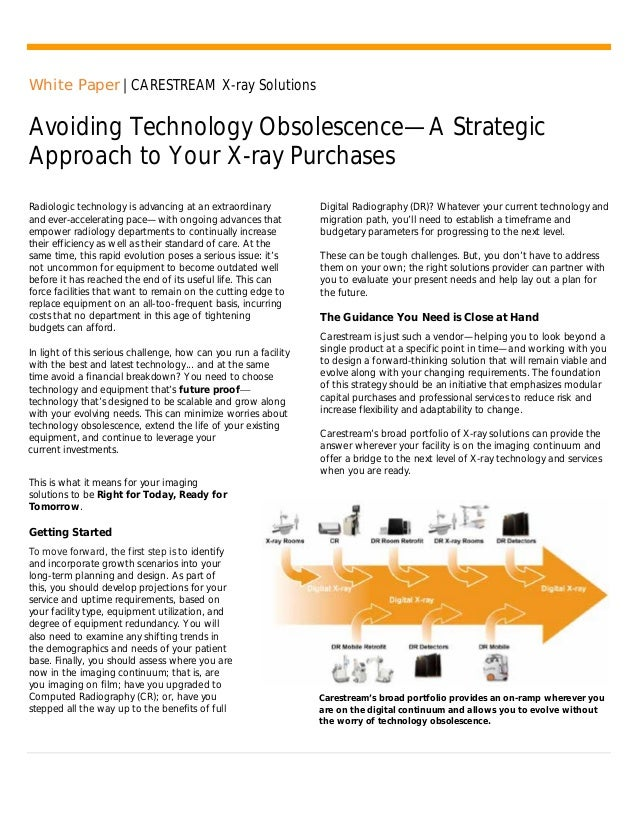White Paper   CARESTREAM X-ray Solutions Avoiding Technology Obsolescence—A Strategic Approach to Your X-ray Purchases Rad...