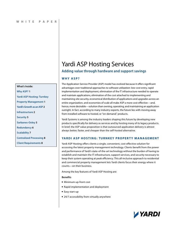 White Paper: Yardi ASP Hosting Services