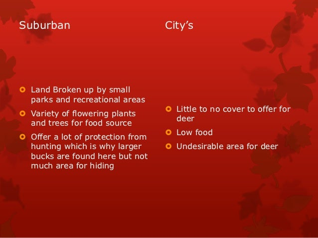 Suburban                           City's Land Broken up by small  parks and recreational areas                          ...