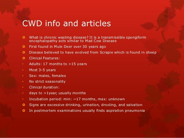 CWD info and articles   What is chronic wasting disease? It is a transmissible spongiform    encephalopathy acts similar ...